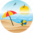 ballon, beach, bird, hotel, landscape, nature, pacific, palm, sun, tourism, tropical, umbrella icon