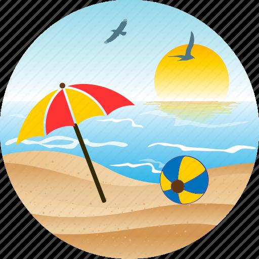 ballon, beach, bird, hotel, landscape, nature, pacific, palm, sun, tourism, tropical, umbrella icon