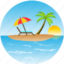 beach, bird, hotel, island, landscape, nature, pacific, palm, sun, tourism, tropical, umbrella icon