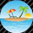 beach, bird, hotel, island, landscape, nature, pacific, palm, sun, tourism, tropical, umbrella icon