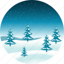 christmas, forest, landscape, nature, polar, snow, winter icon