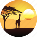 africa, giraffe, horizon, landscape, nature, safari, savanah, sunset, tourizm, travel icon