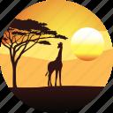 africa, giraffe, horizon, landscape, nature, safari, savanah, sunset, tourizm, travel icon