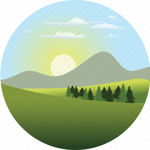clouds, environment, forest, landscape, mountain, nature, sun icon