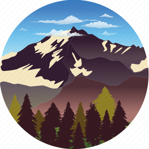 clouds, environment, forest, landscape, mountain, nature, tree icon