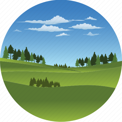 clouds, environment, forest, grass, landscape, nature, tree icon