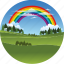 clouds, environment, forest, grass, landscape, nature, rainbow, tree icon