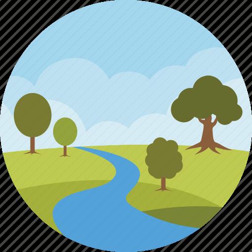 clouds, environment, forest, landscape, nature, park, river icon
