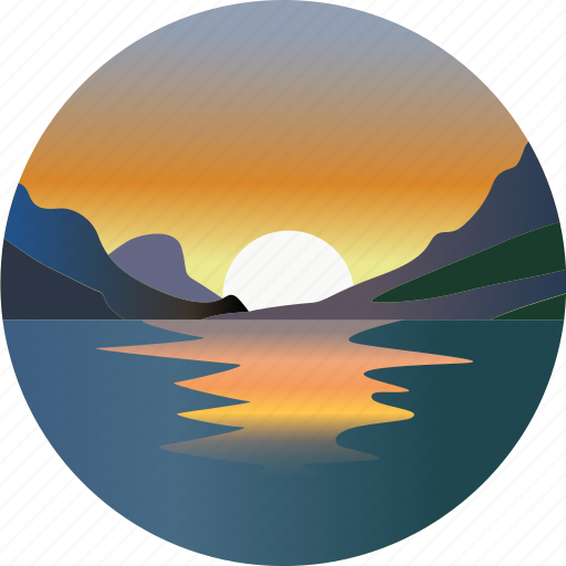 clouds, environment, landscape, mountain, nature, sunset, water icon