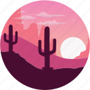cactus, desert, famous, landscape, nature, place, sunset icon