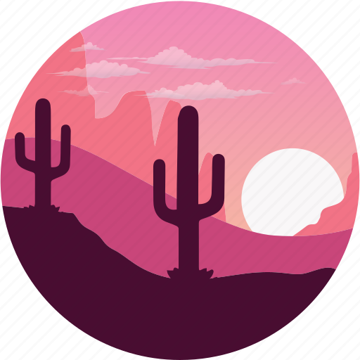 nature famous place sunset cactus desert landscape icon download nature famous place sunset cactus desert landscape icon download