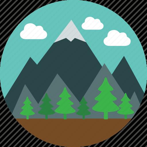 clouds, forest, landscape, mountain, nature, pine, snowcap icon