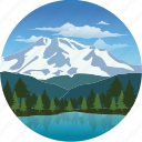 clouds, forest, landscape, mountain, nature, pine, snow, snowcap, trees icon