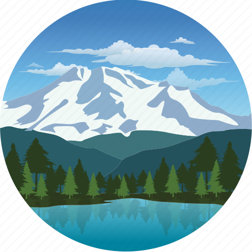 clouds, forest, landscape, mountain, nature, pine, snow, snowcap, trees icon
