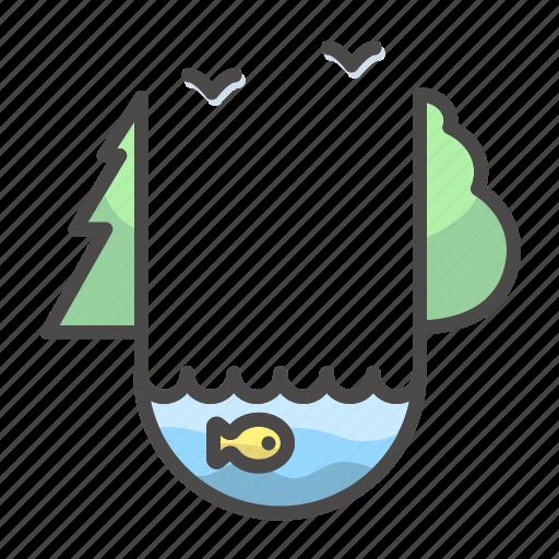 ecosystem, fish, lake, landscape, nature icon