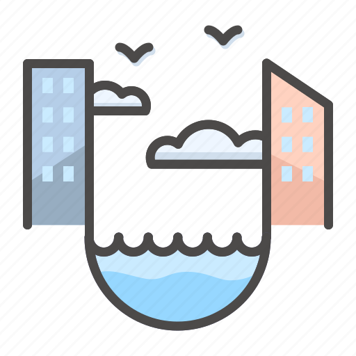building, city, house, landscape, sea icon