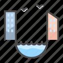 building, channel, city, house, landscape icon