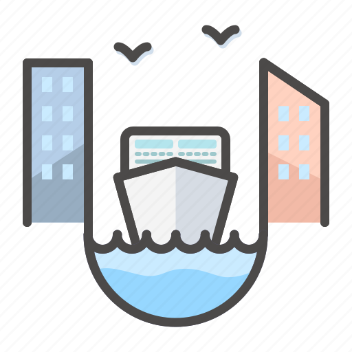 channel, city, landscape, liner, new york icon