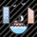 building, channel, city, landscape, yacht icon