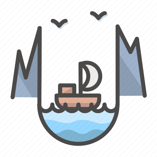 landscape, mountains, sailboat, yacht icon