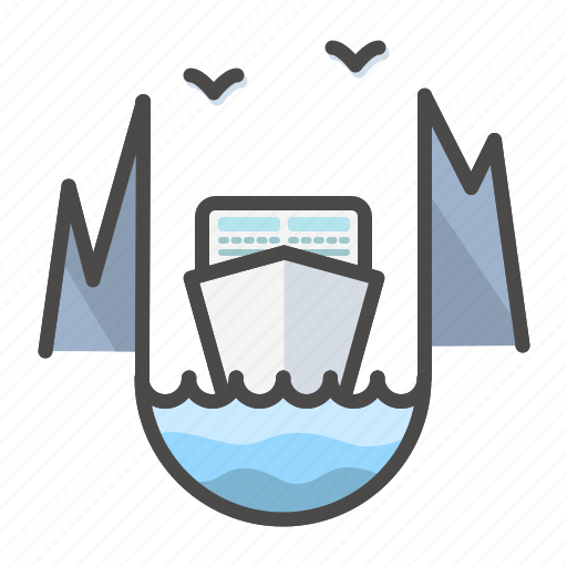 cliffs, cruise, landscape, liner, mountains, naval, ship icon