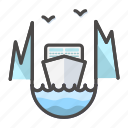 cruise, icebreaker, landscape, liner, nature icon