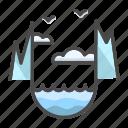 glacier, landscape, nature, north pole, sea, water icon