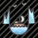 iceberg, landscape, nature, north, ocean, sailboat, sea icon