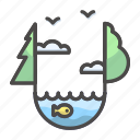 ecosystem, fish, lake, landscape, nature icon