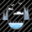 cloud, cloudy, landscape, norway, strait icon