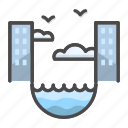 city, cloudy, eddy, house, landscape icon