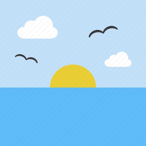 landscape, ocean, sea, sky, sun, sunrise icon