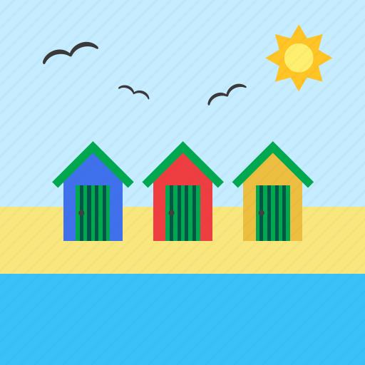 beach, beach hut, hut, landscape, sea, summer, vacation icon