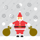 christmas, santa, santa claus, snow, snowing icon