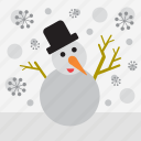 snowman, winter, snowing, snow, christmas, landscape, snowflake icon