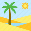 desert, landscape, oasis, palm tree, water icon