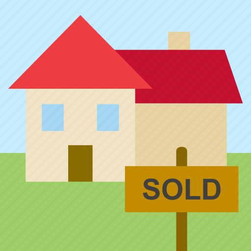 business, house, real estate, sold, sold sign icon