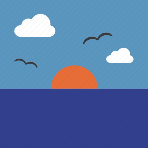 cloud, landscape, ocean, sea, sun, sunrise, sunset icon