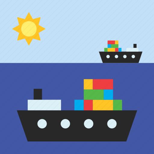 boat, cargo, cargo ship, container, freighter, sea, ship icon