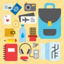 luggage, map, tourism, travel, travel kit, traveling, vacation icon