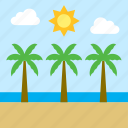 beach, cloud, landscape, palm tree, sea, sun icon