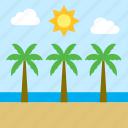 beach, landscape, palm tree, sea, cloud, sun