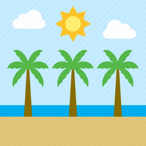 beach, cloud, landscape, palm tree, sea, sun icon