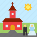 bride, church, groom, love, wedding icon