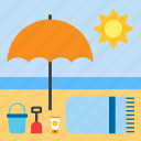 beach, landscape, parasol, summer, towel icon