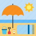 beach, summer, parasol, towel, landscape
