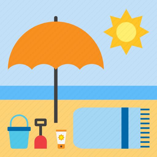 beach, landscape, parasol, summer, towel icon