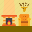 armchair, easy chair, fireplace, home, house, hunting trophy, living room icon
