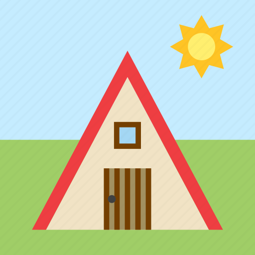 cabin, hut, landscape, wood, wooden icon