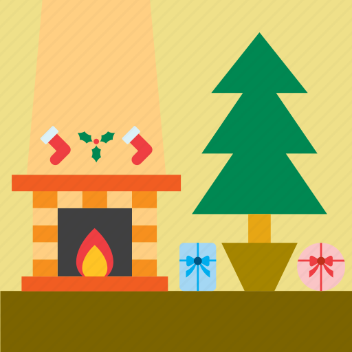 christmas, christmas tree, fireplace, home, house, living room, ornament icon